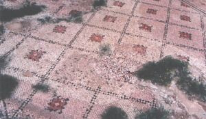 "Recent damage to the mosaic floor of the ""Na'aran"" Synagogue"